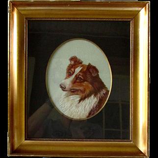 Antique Wool Embroidery Portrait Framed Collie Dog Signed C.1910
