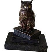 Antique Lost Wax Solid Bronze Outstanding Owl Statue