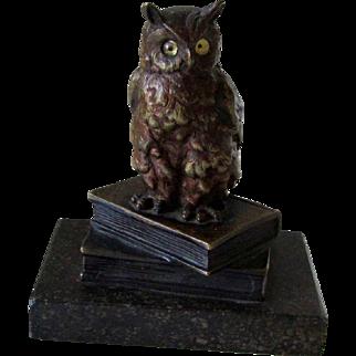 Antique Lost Wax Solid Bronze Outstanding Owl Statue