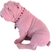 1960's Large Flocked English Bulldog Statue