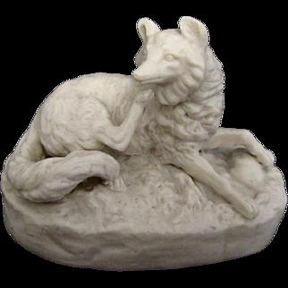 Antique Parian Reclining Fox