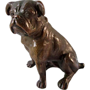 Antique Bronze Sitting English Bulldog