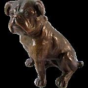 Antique Bronze Sitting English Bulldog