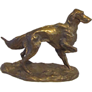 Outstanding  Bronze Irish Setter Dog Vintage Signed