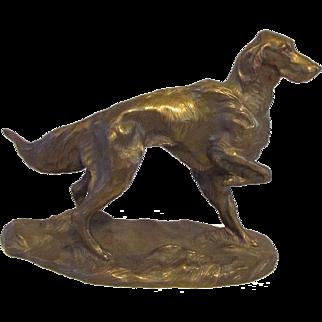 Outstanding  Bronze Irish Setter Dog Vintage Signed