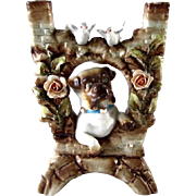 German Porcelain Pug Peering Through Wall Antique