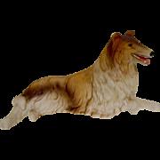 Bisque Reclining Collie Dog Vintage