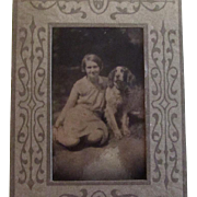 Antique Photo Girl w/Springer Spaniel Dog