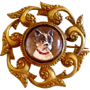 Vintage Intaglio Crystal Brooch/Pin French Bulldog