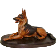 Vintage Large Anri German Shepherd Dog Sculpture Signed