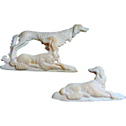 Antique Pair Carved Bone Saluki Dogs
