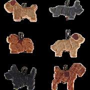 Six Anri Miniature Carved Wood Ornaments Vintage