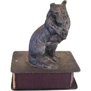 Collie Dog Match Holder Vintage Metal
