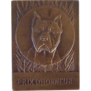 Solid Bronze Antique Medallion Pit Bull Terrier Dog Antique