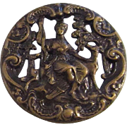 Large Antique Metal Button Greyhound With Diana