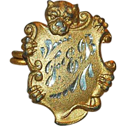 Victorian Antique Dog Brooch Bulldog Boxer C-Clasp