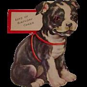 Die Cut Boston Terrier Card Vintage