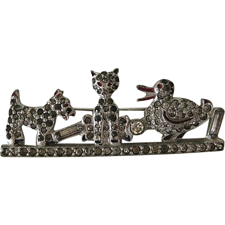 1920's Vintage Scotty Dog, Cat, and Duck Pin