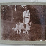 Cabinet Photo Man and Saint Bernard Dog