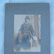 Antique Cabinet Photo Man and English Setter Dog