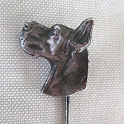 Vintage Sterling Stick Pin Great Dane Dog