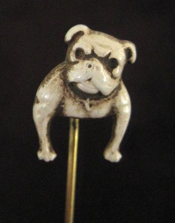 Antique Enamel on Gold Filled English Bulldog/Pug Stickpin