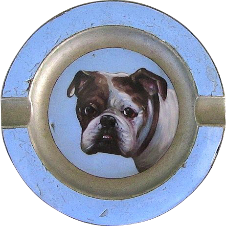Early Vintage Enamel Small Tray w/English Bulldog