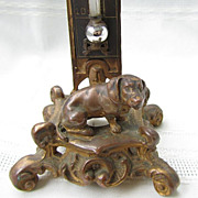 Ornate Antique Bronze Thermometer With Dachshund Dog