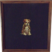Vintage Framed Needlepoint of a Boxer Puppy