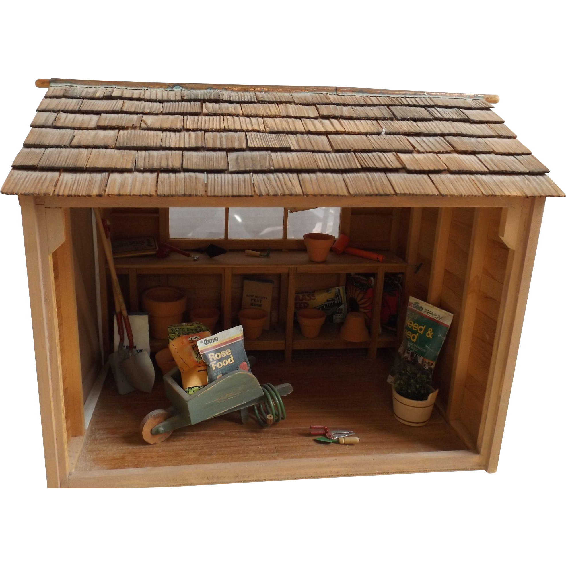 Miniature potting shed for your doll house complete w for Mini potting shed