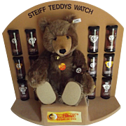 Steiff Teddy Bear Watch Display, Never Removed From Display