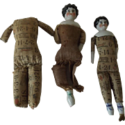 Two China Dolls and Body For Parts, Two are Printed Bodies