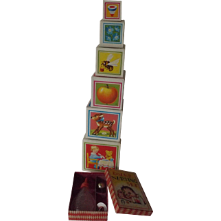 Doll's Nursing Set, Orig Box and Paper Covered Building Blocks