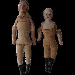 Two Doll House Dolls w/Mutton Chop Sideburns