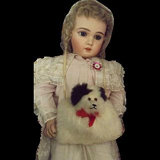 Child's Fur Muff with Dog Head