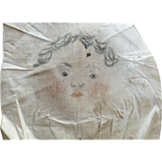 Hand Drawn Face For an Early Cloth Doll