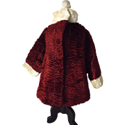 Plush Doll's Coat--Cranberry and white