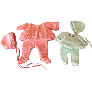 Two Cute Knitted three piece doll outfits