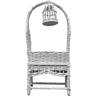 Wicker Planter w/Birdcage for your Doll House