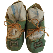 Pretty Blue Oilcloth Doll Shoes with Heels