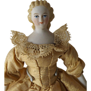 """5"""" Bisque Shoulder Head Doll, Molded Blond Hair w/Snood, Doll House Size"""