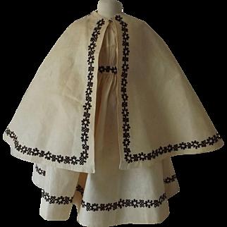 Child's Dress w/Matching Cape, Soutache Trim, Mid 1800's
