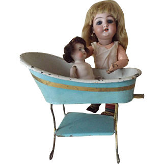 Doll's Tin Tub on Stand, Blue Paint