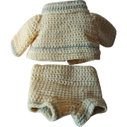 Cute Vintage Crochet Two Piece Suit for a Small Doll