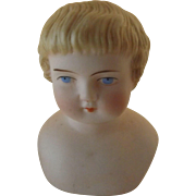 Small Bisque Head W/Deeply Molded Blond Hair