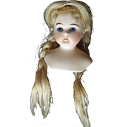 Sweet Small Doll Head With Closed Mouth and Great Wig