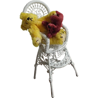 Sleeping Teddy Bear in High Chair, With Glass Dome