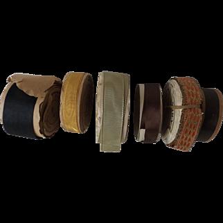 Six Rolls of Antique Ribbon