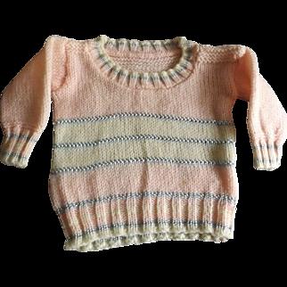 Vintage Pink Wool Doll Sweater