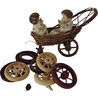 """Carriage with Two """"Moving"""" Babies, Needs Work"""